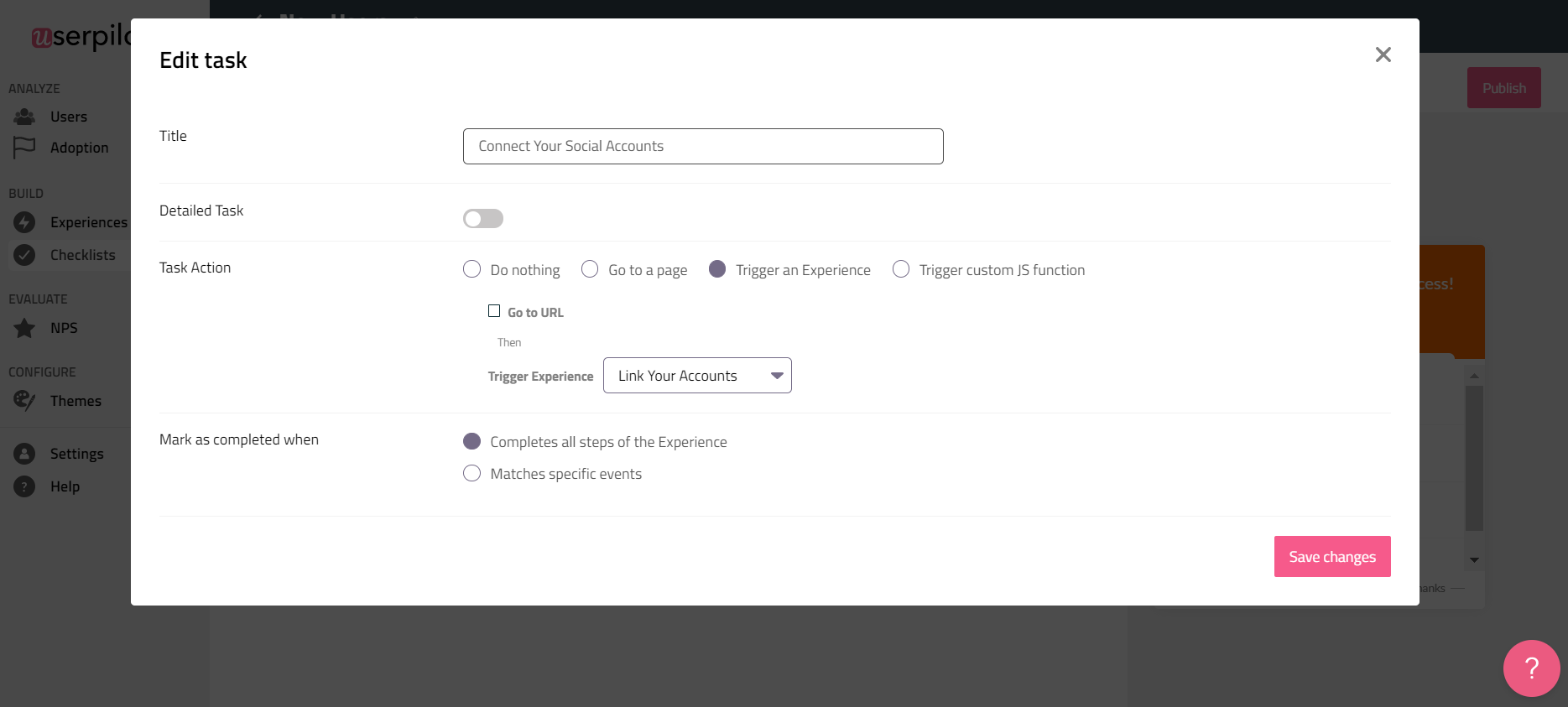 Connect your social accounts goal