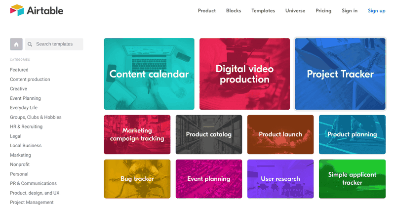 airtable product marketing example