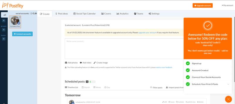 postfity checklist userpilot