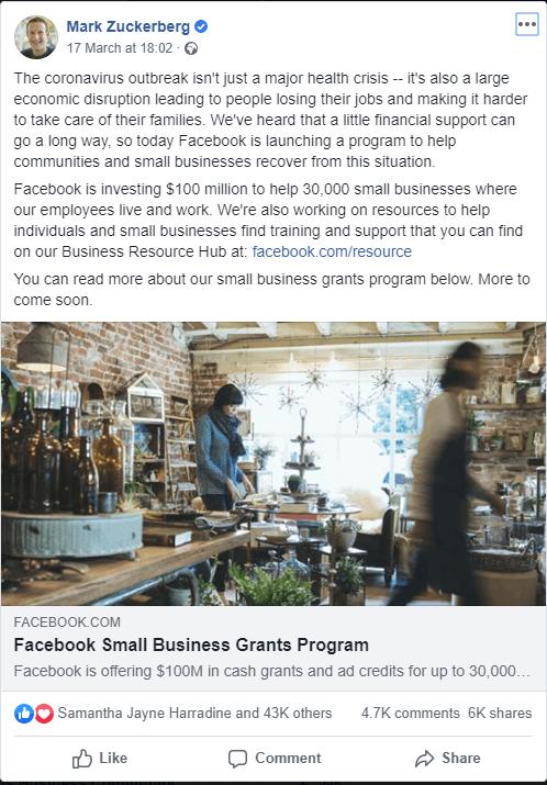 facebook mark zuckerberg covid response