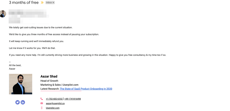 covid cancellation email responds