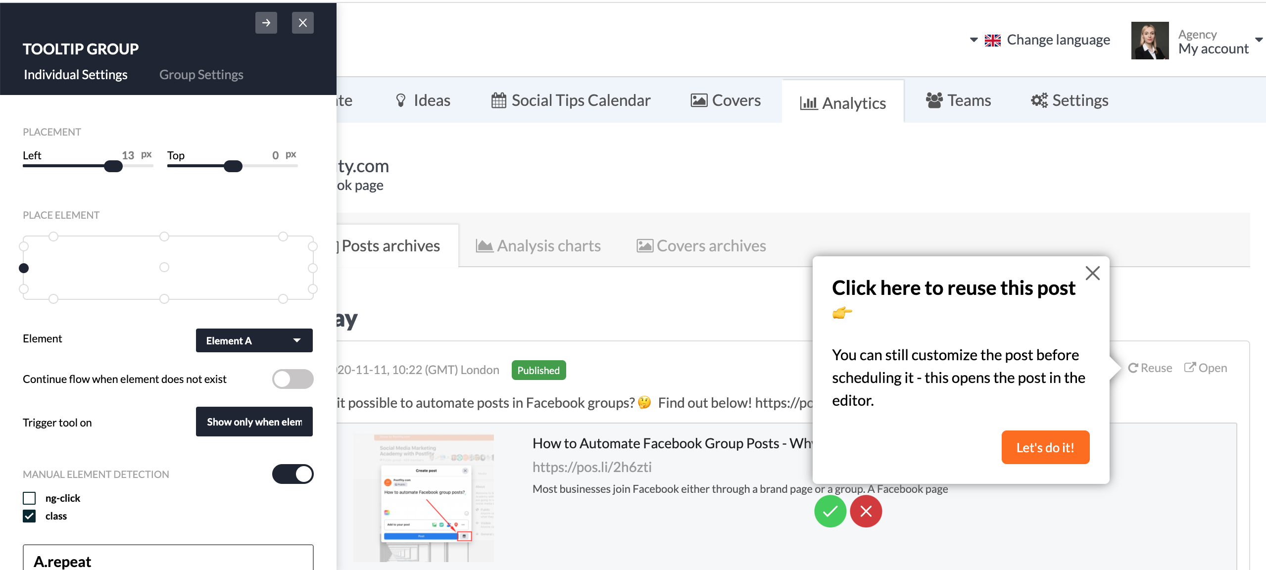 in-app experience experiment Userpilot postifity 2