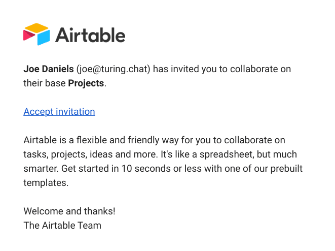 airtable onboard invited users