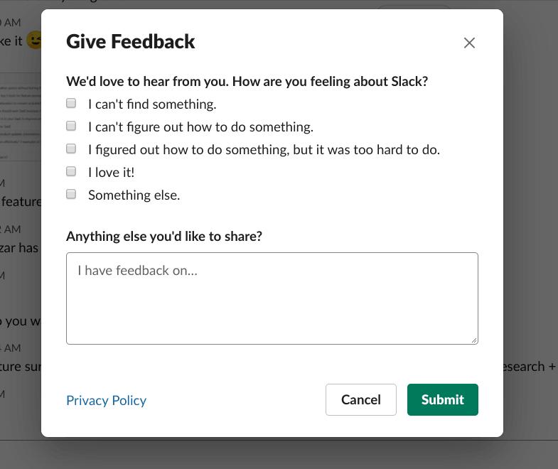 slack feature surveys