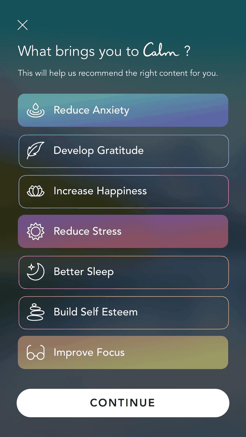 calm in-app tutorial example