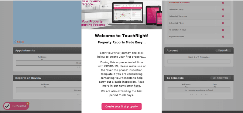 touchright welcome screen