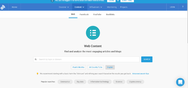 Buzzsumo offers some features before signup