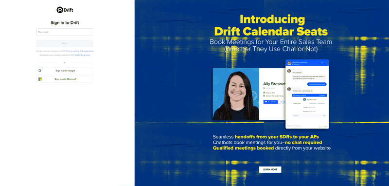 drift sign up page