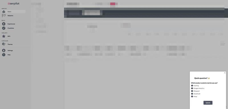 Userpilot's pop-up micro-survey feature