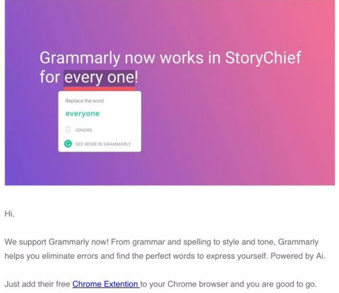 New feature adoption: Grammarly get it right with email