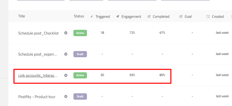 Goal completion rate in userpilot