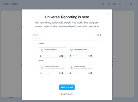 asana popup modal for new feature