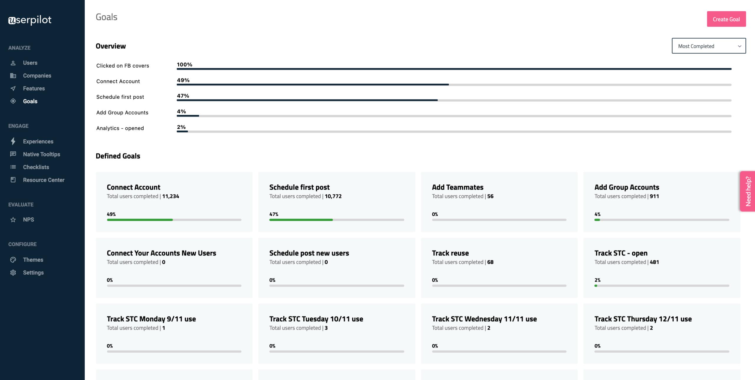 goals userpilot postfity dashboard